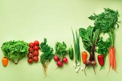 Οργανικά λαχανικά και εργαλεία κήπων στο πράσινο υπόβαθρο με το διάστημα αντιγράφων Τοπ άποψη του καρότου, τεύτλο, πιπέρι, ραδίκι στοκ φωτογραφία