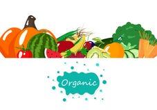 Οργανικά λαχανικά και φρούτα, διατροφή, υγιές έμβλημα επιλογών τροφίμων, διανυσματική απεικόνιση υποβάθρου αφισών αγοράς απεικόνιση αποθεμάτων