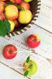 Οργανικά μήλα στο καλάθι, υγιής έννοια τρόπου ζωής στοκ εικόνες
