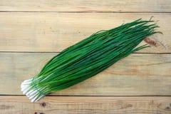 Οργανικά πράσινα κρεμμύδια, μακροεντολή πράσινα λαχανικά στοκ φωτογραφίες