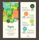 Οργανικά υγιή τρόφιμα με το φυλλάδιο ιπτάμενων επιλογών φρούτων και λαχανικών ελεύθερη απεικόνιση δικαιώματος