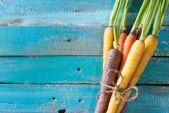 Οργανική ακατέργαστη δέσμη καρότων που δένεται στη ζωηρόχρωμη μπλε ξύλινη ετικέττα σύστασης Στοκ φωτογραφία με δικαίωμα ελεύθερης χρήσης