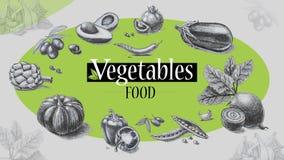 Οργανική τροφή Λαχανικά λευκό δέντρων μολυβιών σχεδίων ανασκόπησης Στοκ εικόνες με δικαίωμα ελεύθερης χρήσης