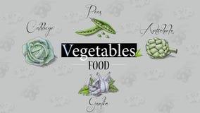 Οργανική τροφή Λαχανικά λευκό δέντρων μολυβιών σχεδίων ανασκόπησης Στοκ Εικόνες