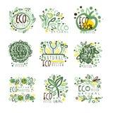 Οργανικός, βιο, αγρόκτημα φρέσκο, eco, υγιή τρόφιμα που τίθενται για το σχέδιο ετικετών Οικολογία, διανυσματικές απεικονίσεις φύσ απεικόνιση αποθεμάτων