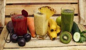 Οργανικός καταφερτζής detox με τα φρέσκα φρούτα και λαχανικά Στοκ Φωτογραφίες