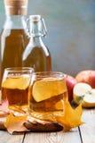Οργανικός μηλίτης ή χυμός της Apple σε έναν ξύλινο πίνακα με το διάστημα αντιγράφων Δύο γυαλιά με τα φύλλα ποτών και φθινοπώρου σ στοκ εικόνα