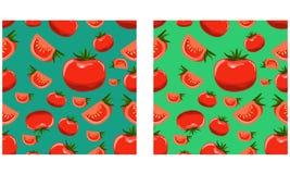 Οργανικό άνευ ραφής σχέδιο ντοματών Επίπεδο διευκρινισμένο ύφος διάνυσμα χρώματος Στοκ φωτογραφίες με δικαίωμα ελεύθερης χρήσης