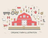 Οργανικό αγρόκτημα στο χωριό καθορισμένο και κεραμίδι στο λεπτό σχέδιο ύφους γραμμών όργανα, λουλούδι, λαχανικά, φρούτα, σανός, α Στοκ φωτογραφία με δικαίωμα ελεύθερης χρήσης