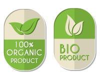 οργανικό και βιο προϊόν 100 τοις εκατό με το σημάδι φύλλων, δύο ελλειπτικά Στοκ εικόνα με δικαίωμα ελεύθερης χρήσης