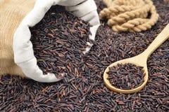 Οργανικό καφετί ρύζι που ανατρέπει από το σάκο Στοκ Εικόνες