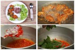 Οργανικό κόκκινο jasmine ρύζι με την πικάντικη ξινή τηγανισμένη σαλάτα κοτόπουλου Στοκ εικόνες με δικαίωμα ελεύθερης χρήσης