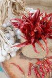 Οργανικό σκόρδο και κόκκινο - καυτό τσίλι Στοκ Φωτογραφία