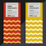 Οργανικό σχέδιο φραγμών σοκολάτας σκοταδιού και γάλακτος Συσκευασία Choco Στοκ Φωτογραφίες