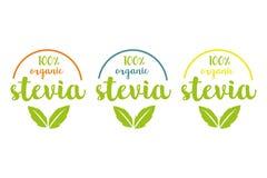 100% οργανικό stevia ή γλυκό σύνολο λογότυπων χλόης διανυσματική απεικόνιση