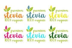 100% οργανικό stevia premiun ή γλυκό σύνολο λογότυπων χλόης διανυσματική απεικόνιση