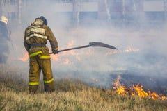 Οργιμένος δασικές πυρκαγιές άνοιξη Καίγοντας ξηρά χλόη, κάλαμος κατά μήκος της λίμνης Η χλόη καίει στο λιβάδι Οικολογική καταστρο στοκ εικόνα