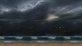 Οργιμένος κύματα και νεφελώδεις ουρανός και σκάφη απόθεμα βίντεο