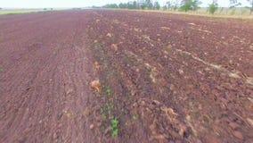 Οργωμένος γεωργικός τομέας στην ημέρα απόθεμα βίντεο