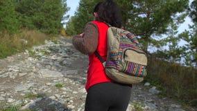 Ορειβάτης γυναικών τουριστών οδοιπόρων με την οδοιπορία σακιδίων πλάτης στο βουνό Κορίτσι οδοιπόρων, θηλυκή ταξιδιωτική γυναίκα π απόθεμα βίντεο
