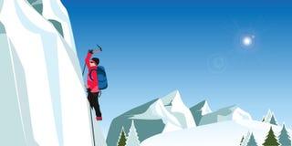 Ορειβάτης πάγου στο κόκκινο παλτό με τους άξονες που αναρριχείται σε έναν μεγάλο μπλε τοίχο Στοκ Εικόνες