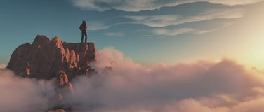 Ορειβάτης πάνω από ένα βουνό απεικόνιση αποθεμάτων