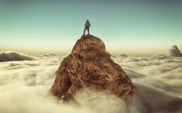 Ορειβάτης πάνω από ένα βουνό ελεύθερη απεικόνιση δικαιώματος