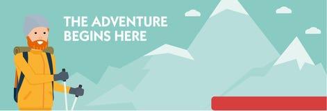 Ορειβάτης σε ένα ίχνος βουνών Η περιπέτεια αρχίζει εδώ απαγορευμένα Ενεργός αθλητική έννοια Διανυσματική επίπεδη απεικόνιση κινού απεικόνιση αποθεμάτων