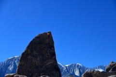 Ορειβάτης στη διαδρομή πτερυγίων καρχαριών arete Στοκ Εικόνα