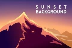 Ορεινή έκταση τοπίων βουνών ηλιοβασιλέματος Διανυσματικές σκιαγραφίες σχεδίου βουνών του ηλιοβασιλέματος υποβάθρων βουνών μπορέστ Στοκ Εικόνα