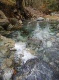 Ορεινός γρήγορος ποταμός με το σαφές νερό στο δάσος στα βουνά Dirfys στο νησί της Εύβοιας, Ελλάδα στοκ φωτογραφίες με δικαίωμα ελεύθερης χρήσης