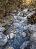 Ορεινός γρήγορος ποταμός με το σαφές νερό στο δάσος στα βουνά Dirfys στο νησί της Εύβοιας, Ελλάδα στοκ φωτογραφία με δικαίωμα ελεύθερης χρήσης