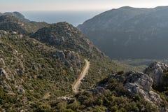 Ορεινός δρόμος στη χερσόνησο Bozburun στην επαρχία Mugla της Τουρκίας στοκ φωτογραφία