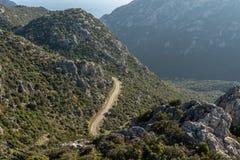 Ορεινός δρόμος στη χερσόνησο Bozburun στην επαρχία Mugla της Τουρκίας στοκ φωτογραφία με δικαίωμα ελεύθερης χρήσης