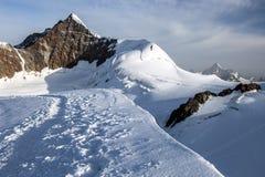 Ορεινός όγκος της Rosa Monte - στην κορυφή του Piramide Vincent στοκ εικόνα