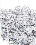 Ορεινό χωριό σκίτσο Στοκ εικόνες με δικαίωμα ελεύθερης χρήσης