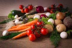 Ορεκτικά φρέσκα λαχανικά, ντομάτες, καρότα Στοκ Φωτογραφίες