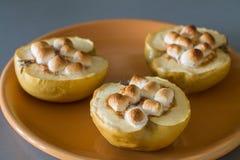 Ορεκτικά ψημένα μήλα με το τυρί, την κανέλα και marshmallows εξοχικών σπιτιών Στοκ Φωτογραφία