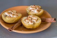 Ορεκτικά ψημένα μήλα με το τυρί, την κανέλα και marshmallows εξοχικών σπιτιών Στοκ φωτογραφίες με δικαίωμα ελεύθερης χρήσης