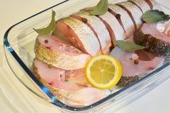 Ορεκτικές φέτες των ψαριών με τα καρυκεύματα για να μαγειρεψει κοντά επάνω Στοκ φωτογραφία με δικαίωμα ελεύθερης χρήσης