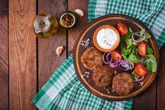 Ορεκτικές cutlet κρέατος και σαλάτα ντοματών Στοκ εικόνα με δικαίωμα ελεύθερης χρήσης