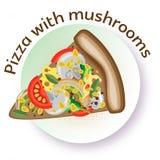 Ορεκτική διανυσματική πίτσα χρώματος με τα μανιτάρια, το τυρί και τα λαχανικά Στοκ Εικόνα