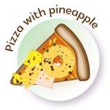 Ορεκτική διανυσματική πίτσα χρώματος με τον ανανά, το τυρί και το ζαμπόν Στοκ φωτογραφία με δικαίωμα ελεύθερης χρήσης