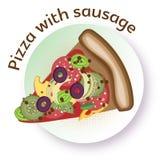 Ορεκτική διανυσματική πίτσα χρώματος με το λουκάνικο, το τυρί και τα λαχανικά Στοκ εικόνα με δικαίωμα ελεύθερης χρήσης