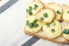 Ορεκτικό του ψωμιού σίτου, των πατατών, του τυριού και των πράσινων κρεμμυδιών Στοκ Εικόνες
