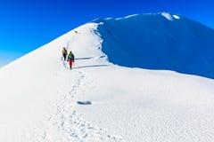 Ορεσίβιοι που περπατούν στην κορυφογραμμή βουνών Στοκ Εικόνες