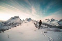 Ορεσίβιος που στέκεται πάνω από το χιονώδες βουνό στοκ φωτογραφία με δικαίωμα ελεύθερης χρήσης