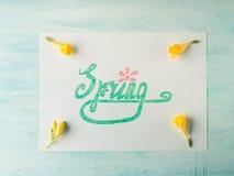 Ορθογραφία λέξης άνοιξη με εγγραφή χεριών και κίτρινα λουλούδια Στοκ Εικόνες