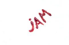 Ορθογραφία μαρμελάδας λέξης με τη μαρμελάδα Στοκ εικόνα με δικαίωμα ελεύθερης χρήσης