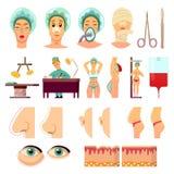 Ορθογώνια εικονίδια πλαστικής χειρουργικής ελεύθερη απεικόνιση δικαιώματος